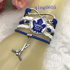 Toronto Maple Leafs hockey NHL Glass Cabochon Infinity Handmade Bracelets NEW