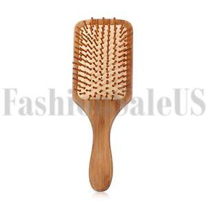 Anti-static Bamboo Paddle Cushion Hair Loss Massage Brush Hairbrush Comb Scalp