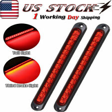 "2X 10"" 15 Led Red Sealed Truck Boat Trailer Stop Tail Rear Turn Brake Light Bar"
