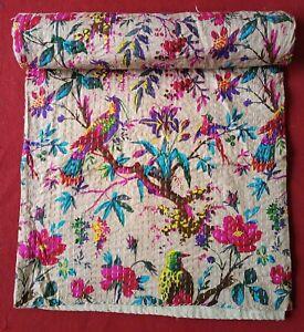Beige Bird Print Queen/Twin Cotton Kantha Quilt Throw Blanket Bedspread Indian