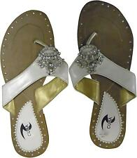 USED Ladies Cuba Cream And White Leather Strapped Jewelled Sandals Size 7(T.H)