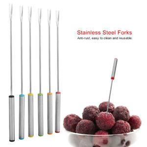"Fondue Forks Set of 6 Stainless Steel 9.45in"" Coded Handle Utensils Al-De-Chef"