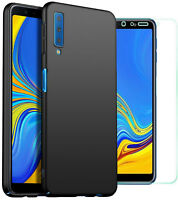 For Samsung Galaxy A7 (2018) Case Slim Hard Back Cover & Glass Screen Protector