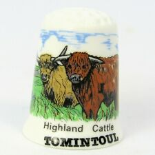 COLLECTABLE FINE BONE CHINA THIMBLE 'HIGHLAND CATTLE, TOMINTOUL' SCOTLAND
