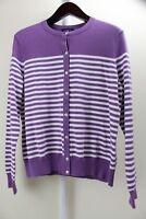 Land's End Cotton & Nylon Blend Purple W/ White Stripes Button Down Sweater - L
