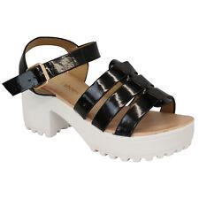 Ladies Sandals Cleated Womens Chunky Block Heel Mesh Platforms Strap Patent Black - Yl2285 UK 5/eu 38