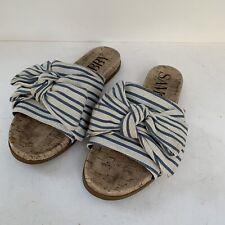 Sam & Libby White and Blue Striped Bow Slip on Sandals Slides Women's size 7.5