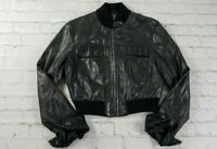 Guess Collection Genuine Leather Black Moto Jacket Women's Size XS