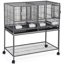 Stackable Wide Divided Breeder Bird Cage for Parakeet w/ Rolling Stand Used