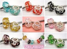 Beautiful Lap-ups Flower Lampwork Glass Beads Fit European Charm Bracelet