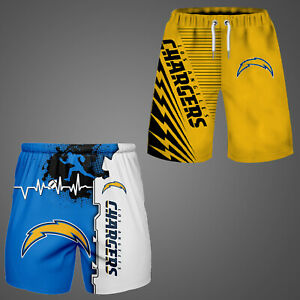 Los Angeles Chargers Beach Shorts Surf Board Shorts Casual Summer Swim Trunks