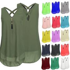 Womens Chiffon Sleeveless Vest Ladies Zip V-neck Casual Cami Long Tops Blouse
