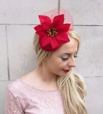 Red Velvet Poinsettia Christmas Flower Fascinator Headband Headpiece Hair 3967