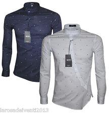 Camicia Uomo Slim Fit Collo Coreana Manica Lunga Bianco Blu S M L XL XXL