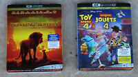 TOY STORY 4 & THE LION KING: 4K ULTRA + BLURAY + DIGITAL CODES (Bilingual) NEW