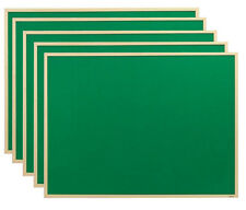 5x Bi-Office Felt Notice Board Wood Frame 90x60cm, Green