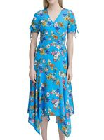 Calvin Klein Womens Maxi-Dress Green Blue Size 4 V-Neck Floral-Print $139 646