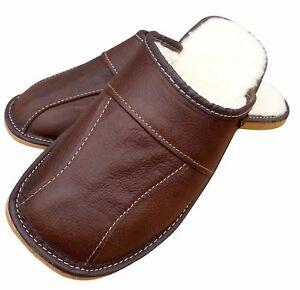 Men's Leather Slippers Sheepskin Wool Brown House Shoe Size 6.5-11 Winter Luxury