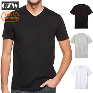 3 Pack Mens 100% Cotton Tagless Crew Round V-Neck T-Shirt Undershirt Tee White