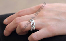 14K White Gold Over 3 pcs Diamond Antique Anniversary Wedding Matching Band Set