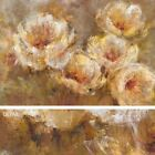 """45W""""x30H"""" POPPY BREEZE by LIV CARSON - FIVE WHITE FLORAL ARRANGEMENT  CANVAS"""