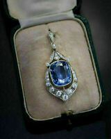 12.47Ct Blue Sapphire & Round Diamond Art Deco Pendant In 14k White Gold Finish
