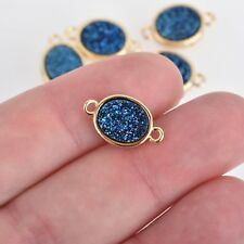 2 BLUE Titanium Druzy Quartz Gemstone Charms gold oval connector 17mm chs4396