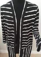 Kim Rogers Women's Striped Open Front Cardigan 3/4 Sleeve V Neck Size M.