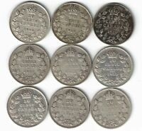 9 X CANADA TEN CENTS DIMES KING GEORGE .800 SILVER COINS 1928 -1936 BAR CANADIAN