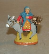 NEW Woman on a Donkey with a bundle of wood  4 cm Santons Fouque