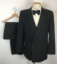 (40L) Men's Gray Double Breasted Wool Pleated 2 Piece Suit (34x26)