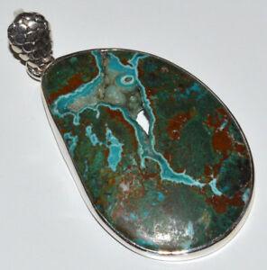Malachite In Chrysocolla Druzy 925 Sterling Silver Pendant Jewelry JJ11035