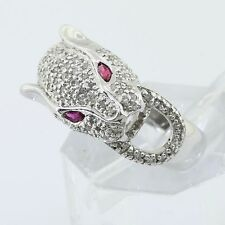 Custom Made Solid 14K White Gold Micro Pave Set Real Diamond Ladies Panther Ring