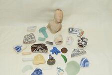 Mixed Sea treasures,shards, doll head, stopper,sea glass, pottery , etc, england