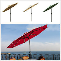9'Patio Solar Powered Umbrella LED Patio Market Garden Beach Tilt Sunshade Crank