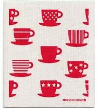 NEW Red Tea Cups Design Eco Friendly Kitchen Dishcloth
