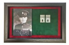 More details for large ruc medal display case with photograph for 4 medals. black frame