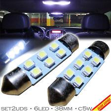 2x BOMBILLAS 6 LED BLANCO XENON 38 39MM 6400K C5W C11 FESTOON MATRICULA INTERIOR