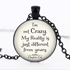 I'm not Crazy Cheshire Black Glass Cabochon Necklace chain Pendant Wholesale