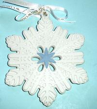 Wedgwood White Snowflake Ornament Figural Pierced w/Blue Center 2013 New