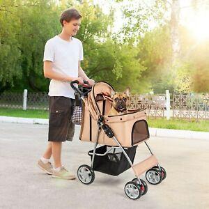 Foldable Pet Stroller 4-Wheel Cat Dog Travel Carrier w/ Storage Basket