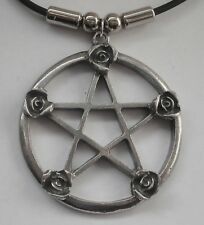 Choker #1345 PENTAGRAM with ROSES (51mm x 44mm) Rubber Necklace Unisex PENDANT