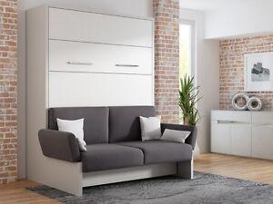 Schrankbett/Wandbett/Klappbett- Sofa WBS 1 Soft -160 x 200cm Holz Hellgrau-Weiß