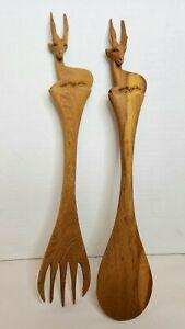 African Handmade Animal Gazelle Salad Server Set Wood Serving Fork & Spoon
