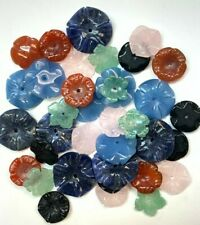 36 Assorted Vintage Genuine Carved Stone Flowers w/Center Holes - 6 Varieties !