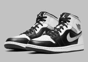Men's Nike Air Jordan 1 Retro Mid 'White Shadow' Shoe Size 14 Black 554724-073