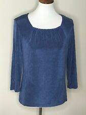 Coldwater Creek Size Small Blue Slinky 3/4 Sleeve Women's Top Shirt