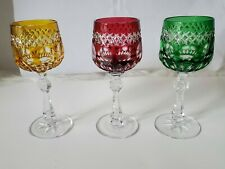 """3 Vintage Bohemian Czech Crystal Cut to Clear 5-1/4"""" Cordial Sherry Stem Glasses"""