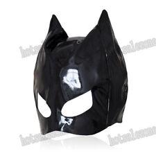 Enamel / patent Leather cat woman dominatrix mask hood head restraint Roleplay