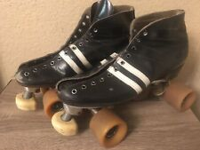 Vtg Riedell Black Leather Roller Skates Boots Size 9 Sure Grip Plate XK-4 Size 7